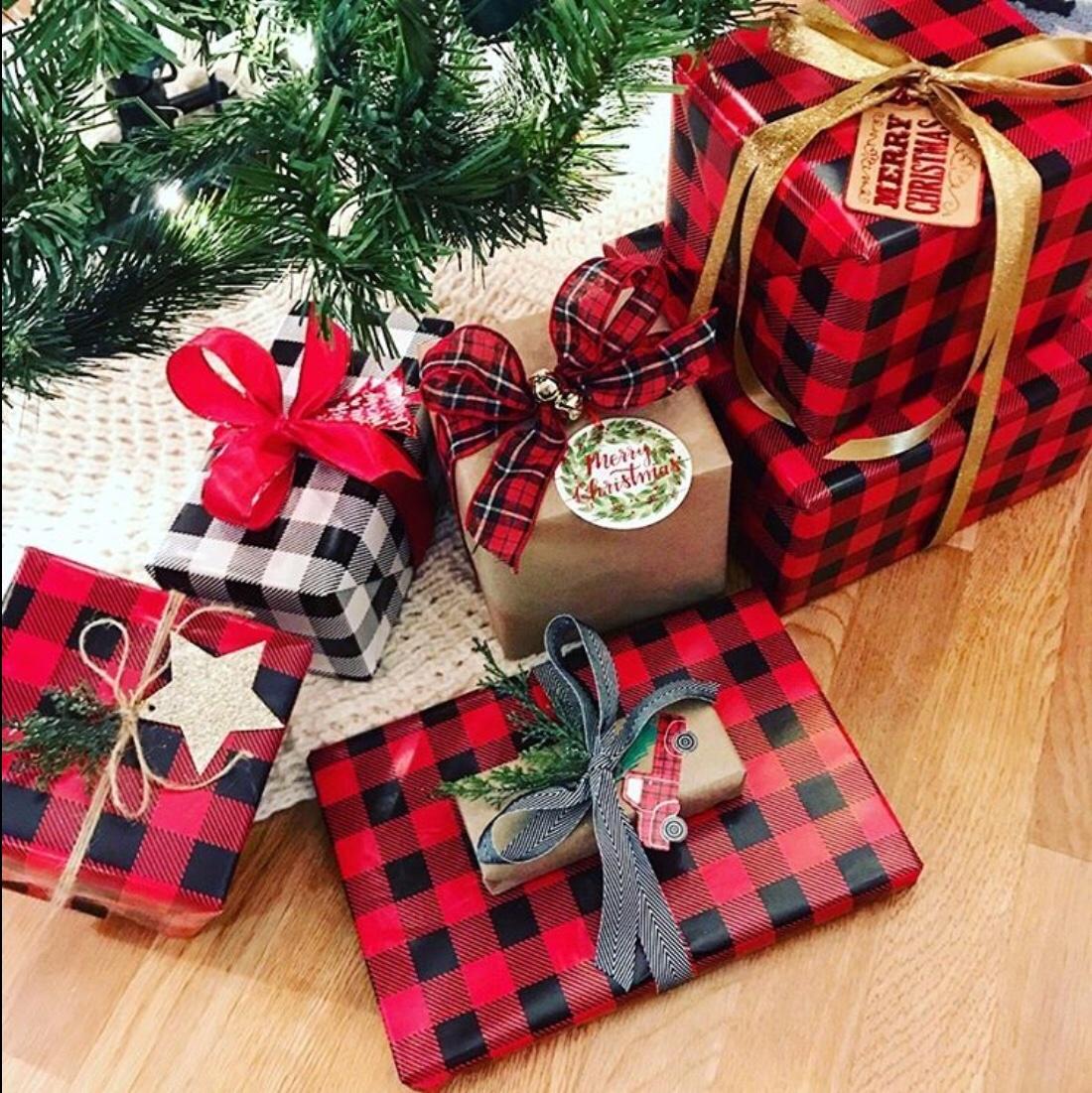 plaid gift wrap