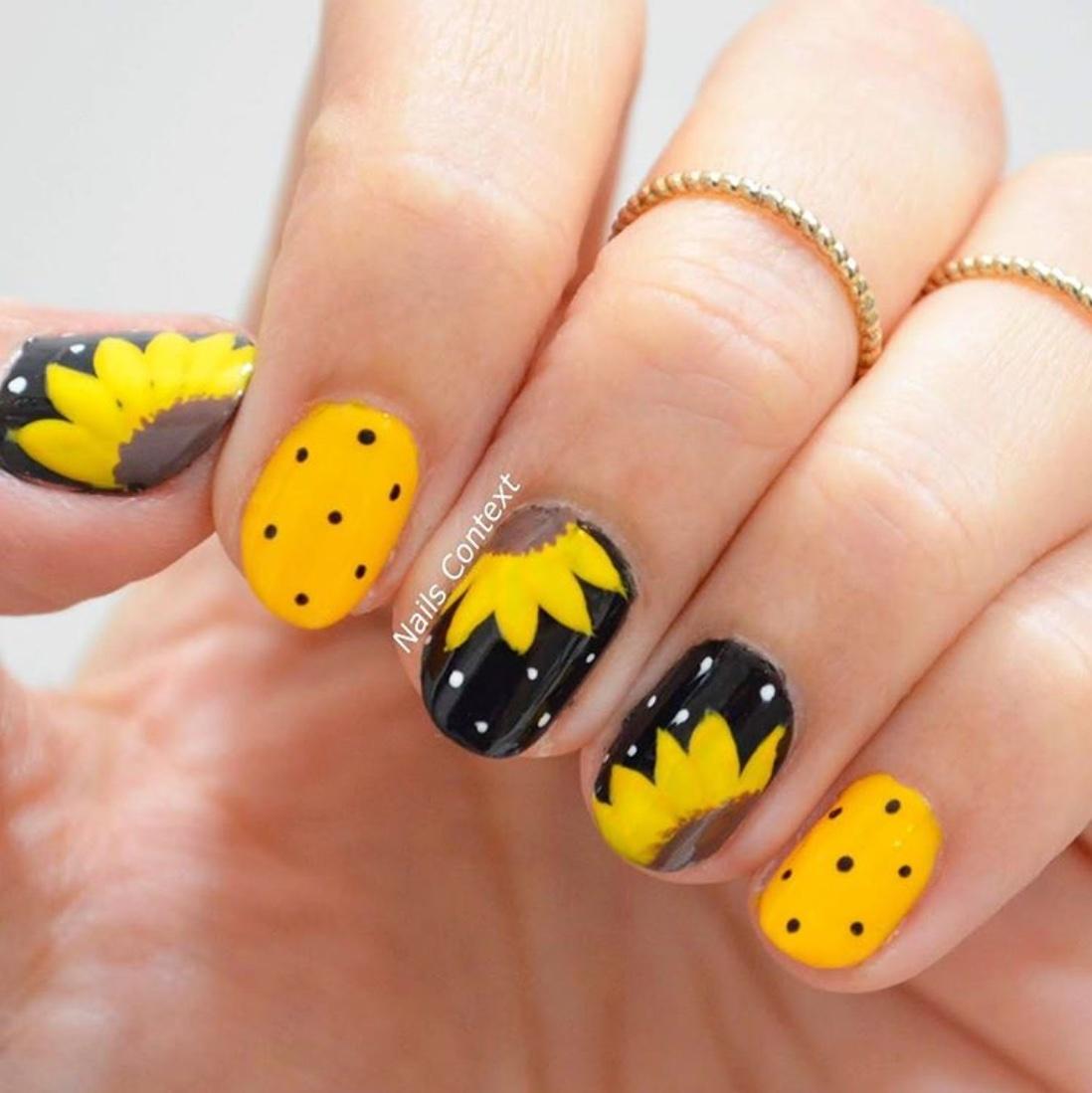 sunflower nail designs