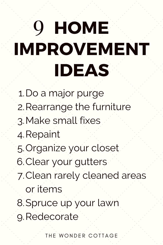 9 home improvement ideas