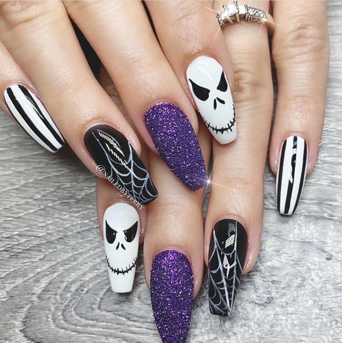 simple halloween gel nails