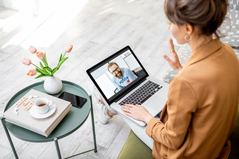 woman on a video call