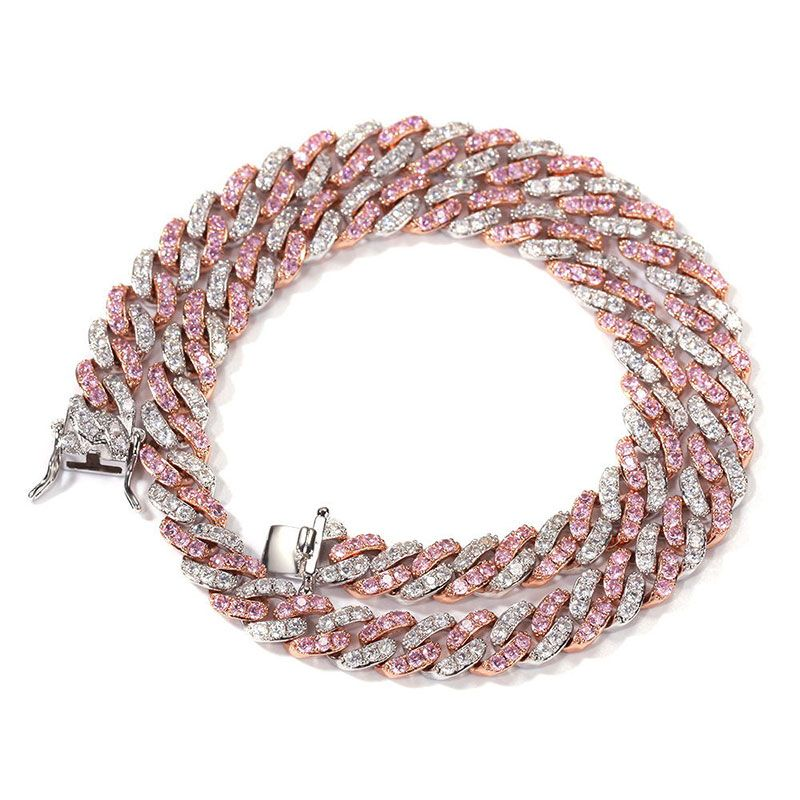 white and pink Cuban link chain