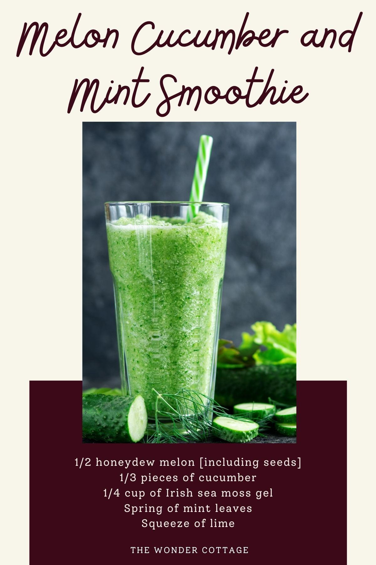 Melon cucumber and mint smoothie