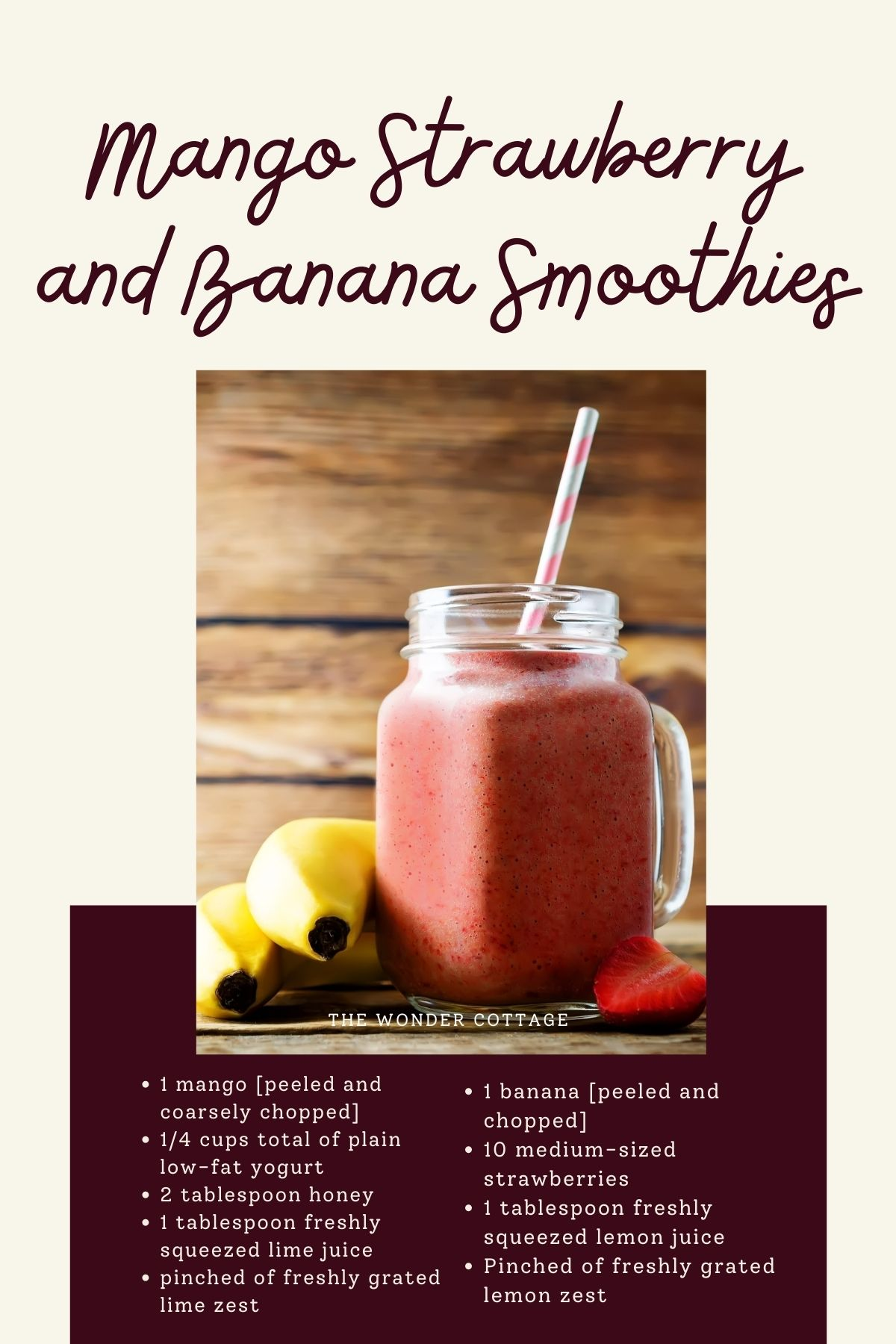 Mango strawberry and banana smoothies