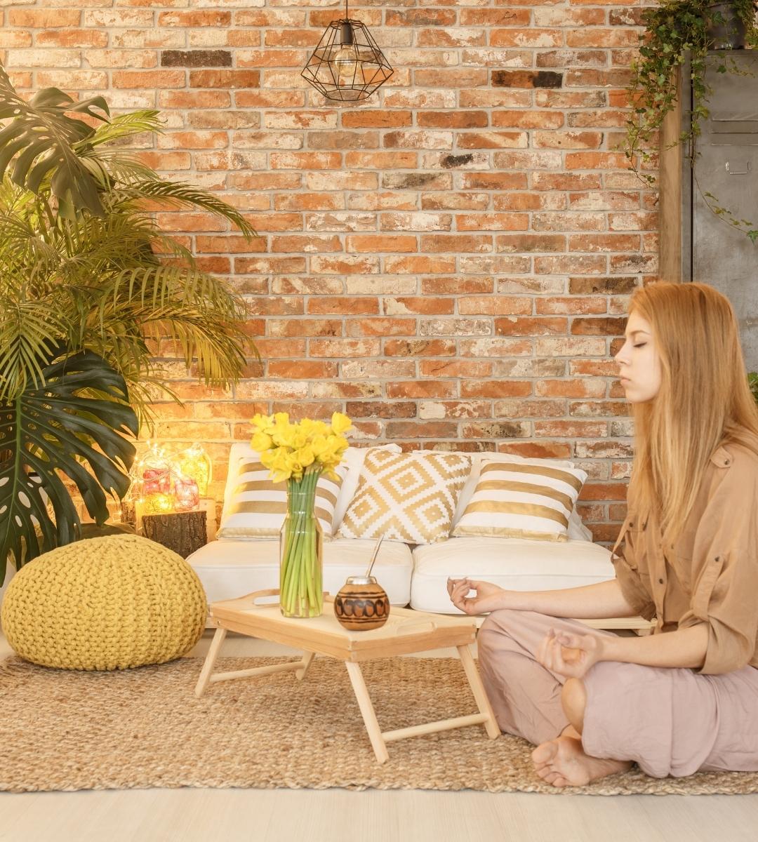 woman in meditation room