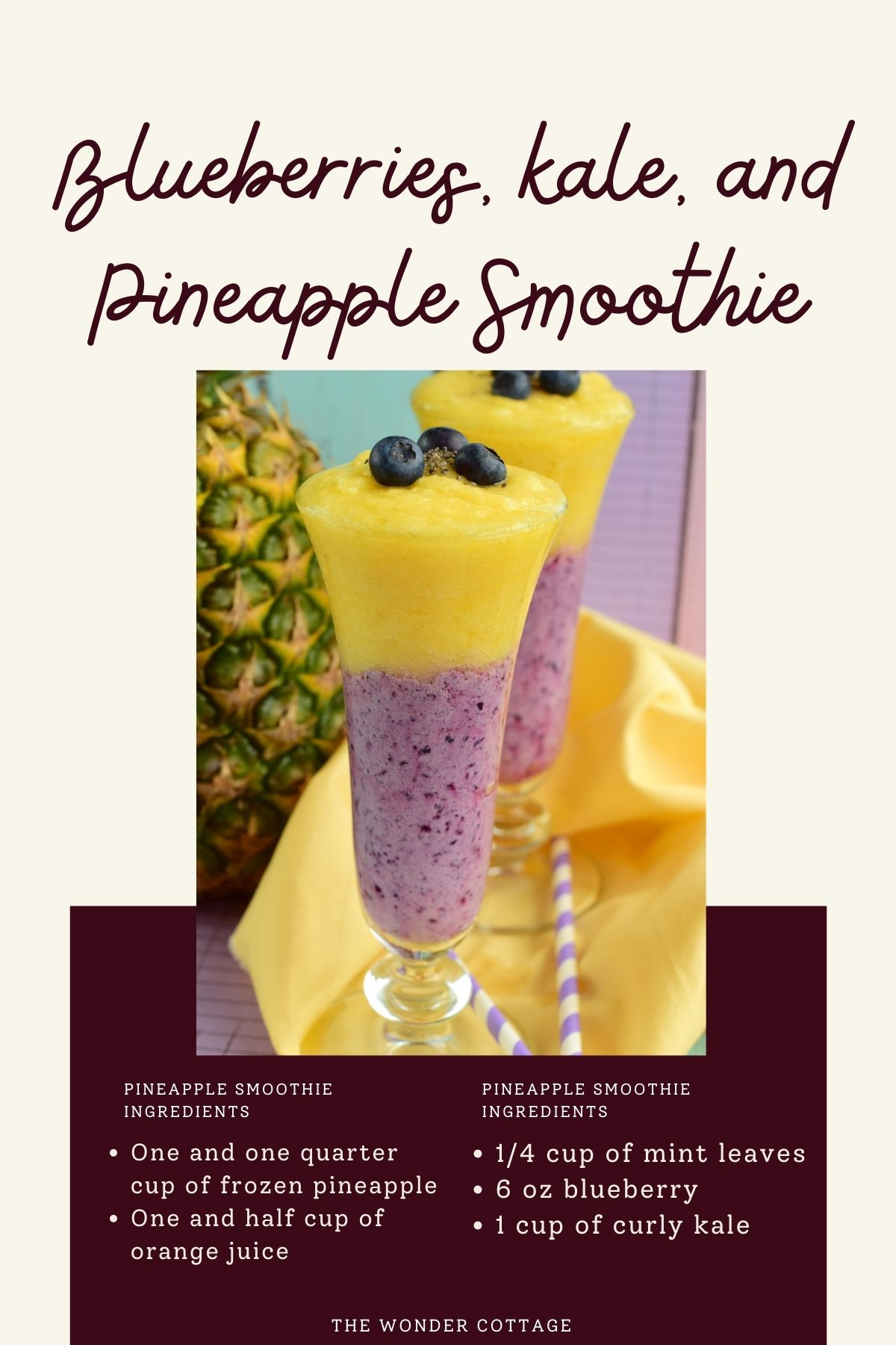 Blueberries, kale, and pineapple smoothie