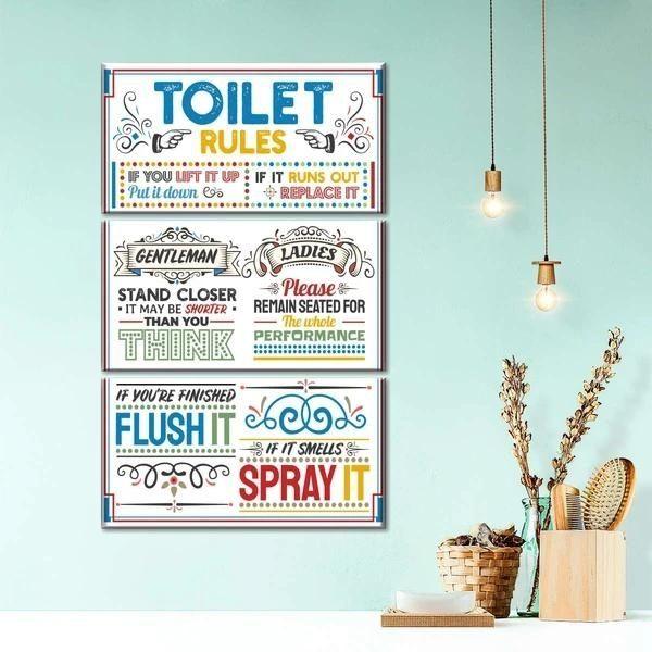 Toilet Rules Multi Panel Canvas Wall Art