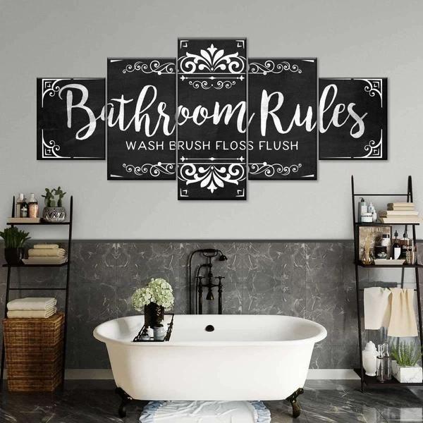 Vintage Bathroom Rules I Multi Panel Canvas Wall Art