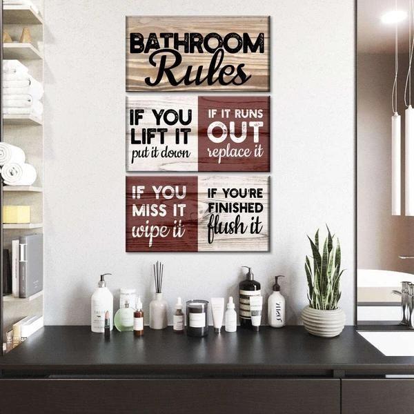 Toilet Commandments Multi Panel Canvas Wall Art bathroom wall quotes