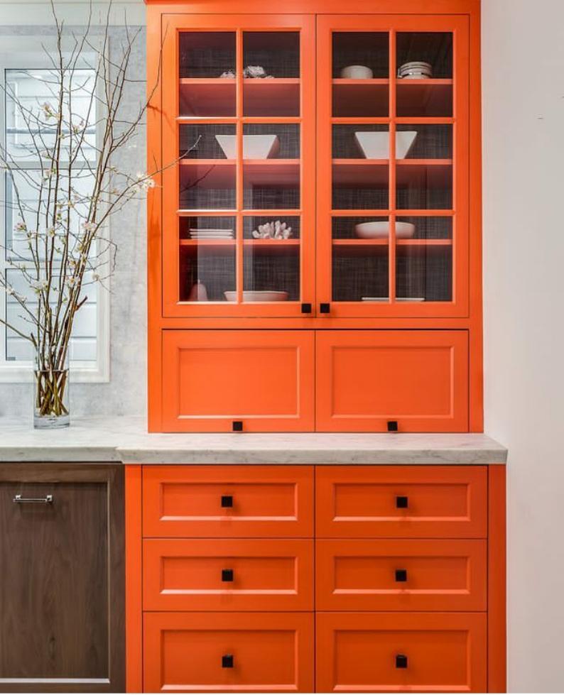 orange-colored kitchens