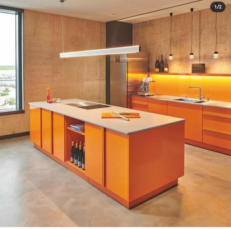 orange colored kitchens