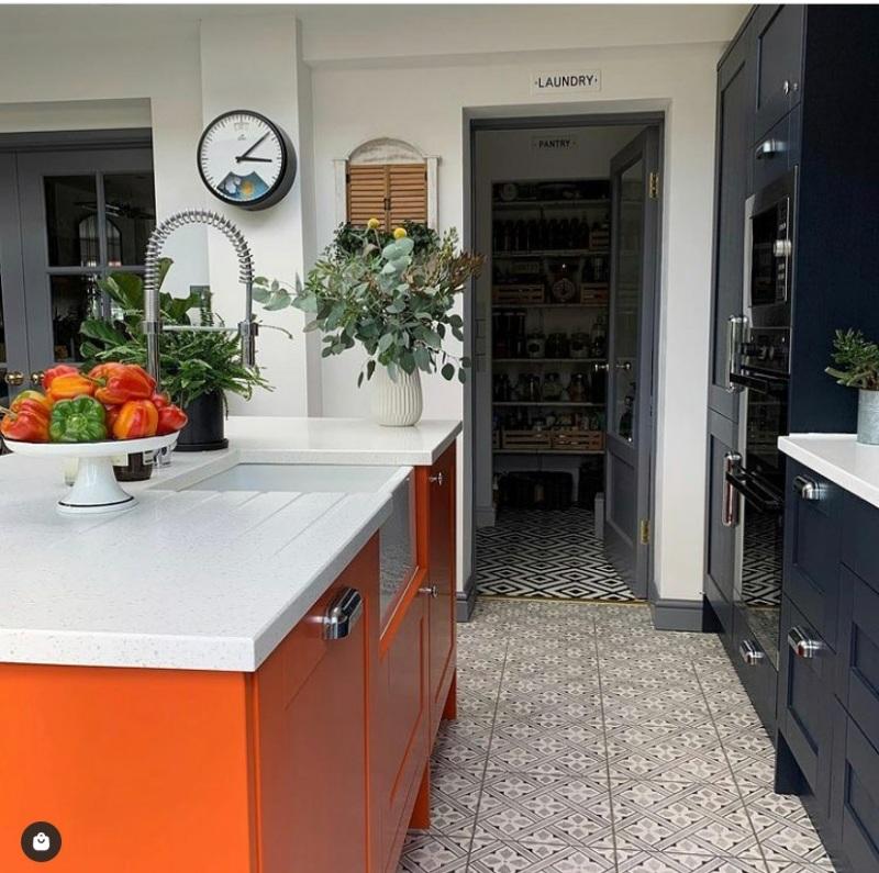 orange colored kitchen