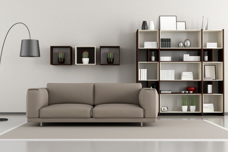 living room with concrete flooring