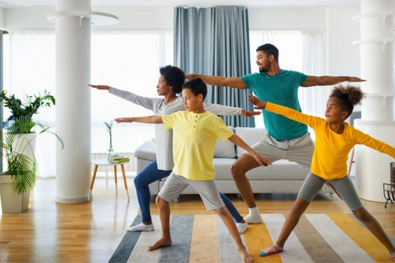 family exercising at home