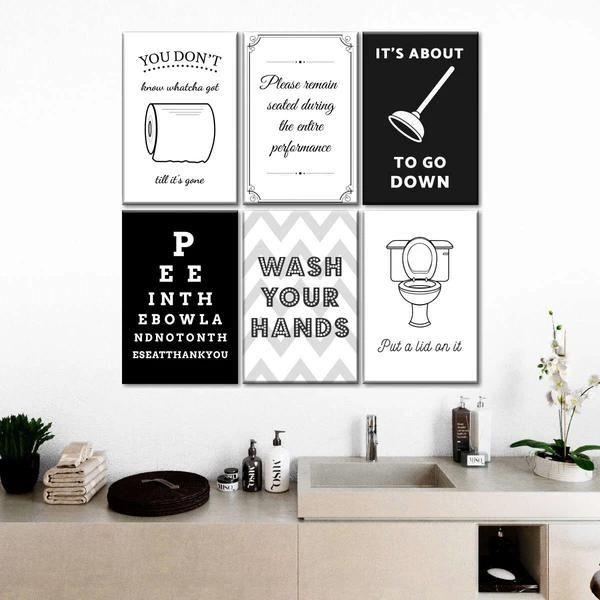 Bathroom Humor Canvas Set Wall Art bathroom wall quotes