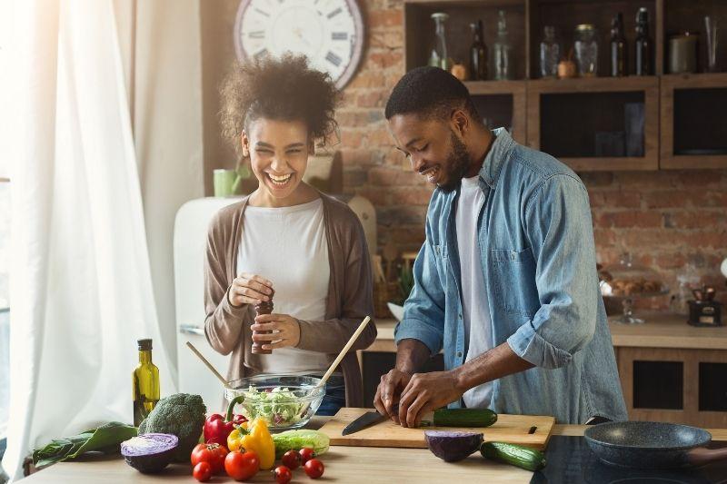 couple making salad