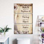 Five Bathroom Rules Multi Panel Canvas Wall Art