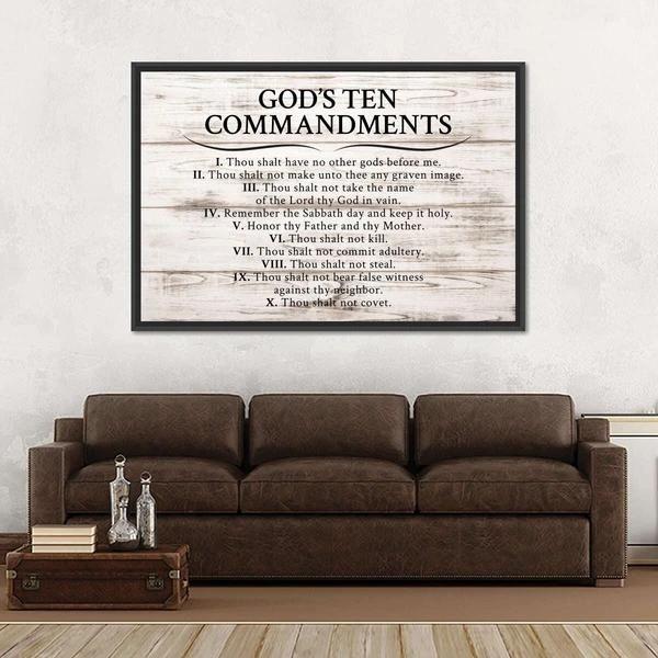 Gods Ten Commandments Canvas Wall Art
