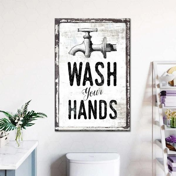 Wash Your Hands Sign Canvas Wall Art