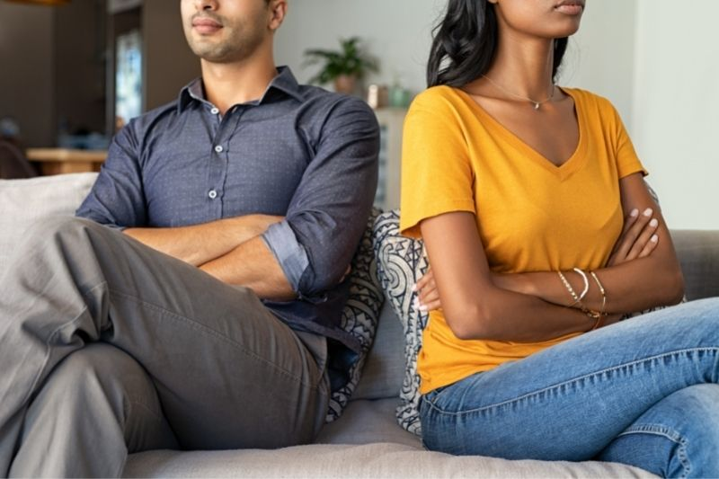 frustrated couple having marriage problems