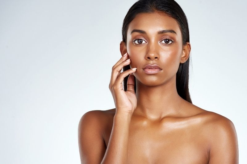 woman with even skin tone