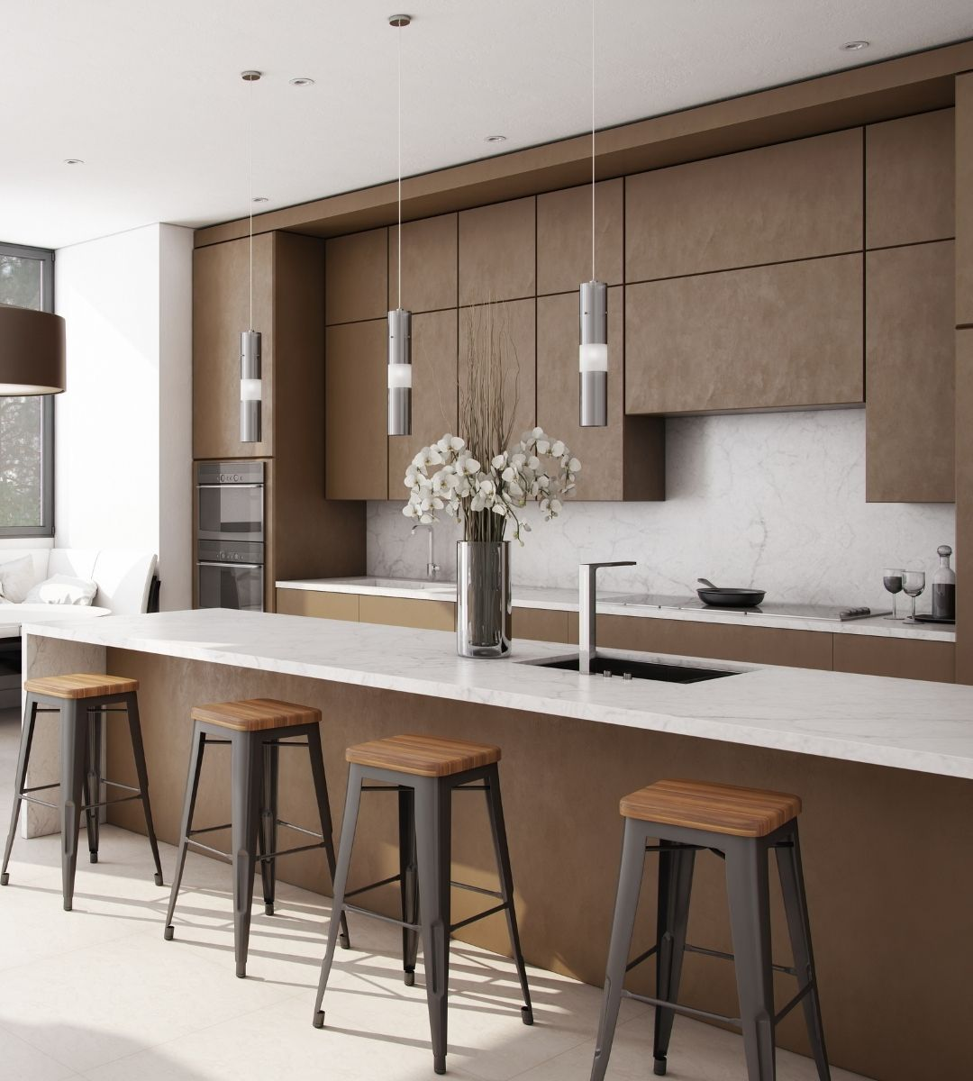 white and brown contemporary kitchen