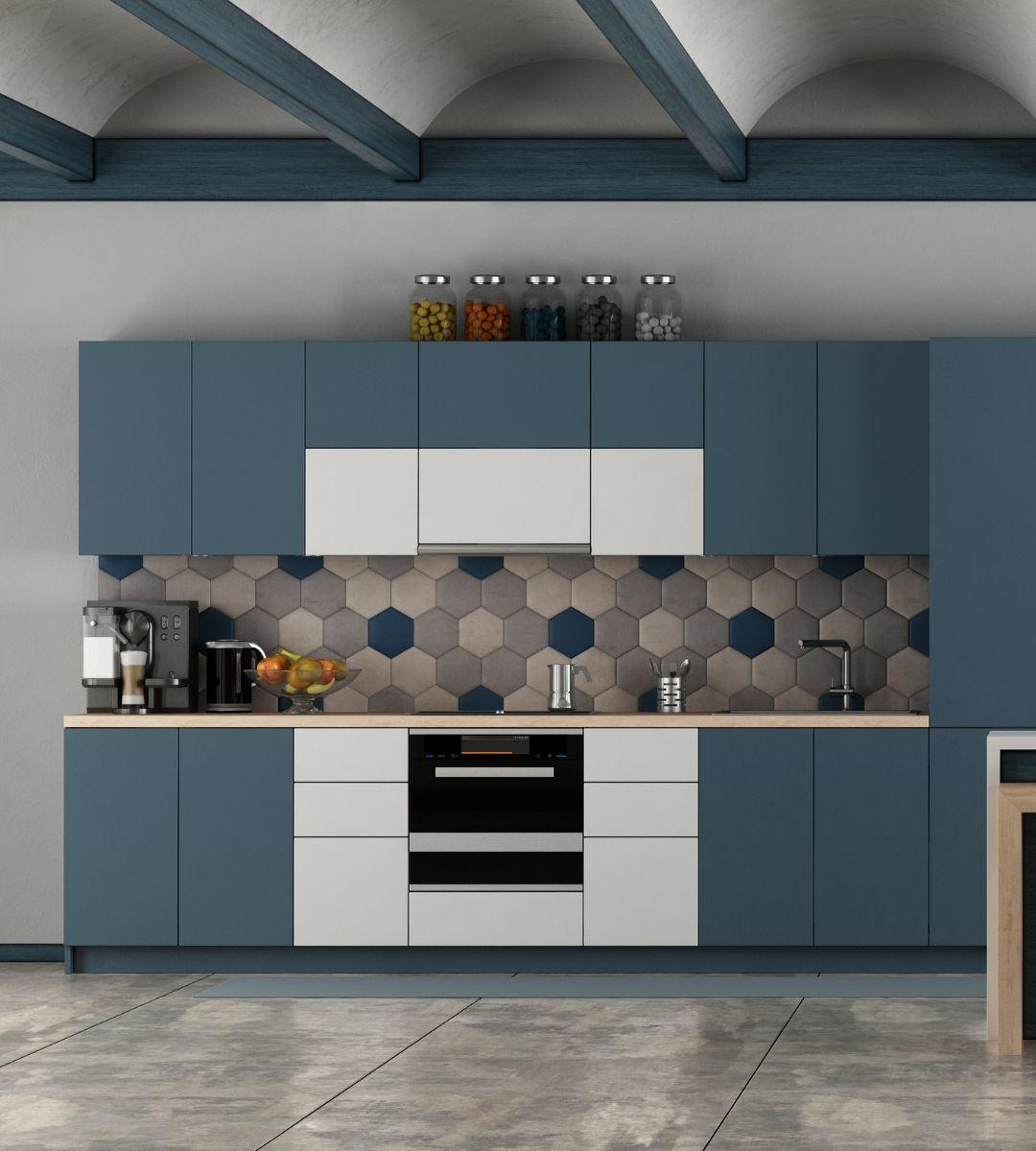 white and blue modern kitchen design