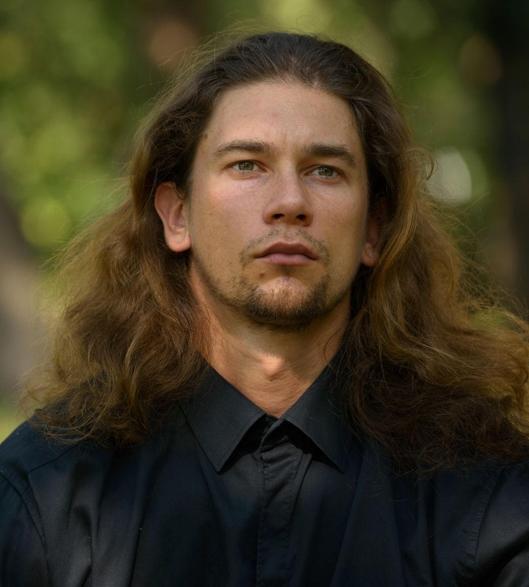 man with wavy hair